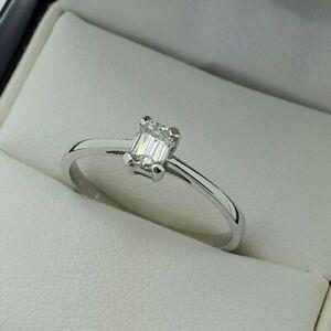 Platinum Emerald Cut Diamond Solitaire Engagement Ring, Finger Size O