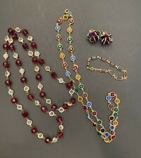"Vintage Crystal Bazel  Necklaces/Earrings/Bracelet (Bracelet-""Swan"") Lot 4"