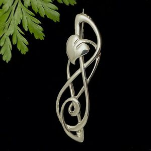 Charles Rennie Mackintosh Sterling Silver 925 Art Nouveau Lily Leaf Brooch Pin