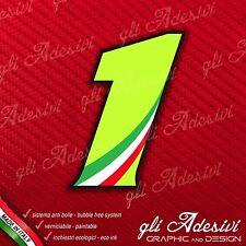 Adesivo Stickers NUMERO 1 moto auto cross gara Verde Acido Kawa & Tricolore 5 cm