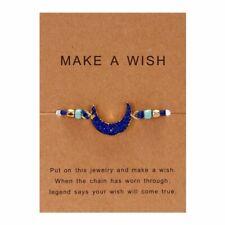 Blue Moon Braided Bracelet Women Jewelry Handmade Make A Wish Natural Stone Deep