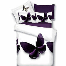 3D Butterfly Queen Size Bedding Set Quilt/Doona/Comforter Cover Set 100% Cotto-R
