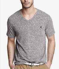 NWT【 L 】Express Men's Small Lion Logo V-Neck Short Sleeve Tee Shirt GRAY