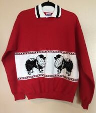 Nwot Custom Keeshond L/S Collared Red Pullover with Woven Appliqué, Medium