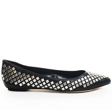 Steven By Steve Madden Womens Stardom Black Leather Silver Ballet Flats Shoes 10