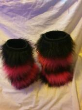 Fluffy Rave Leg Warmers black and pink strips