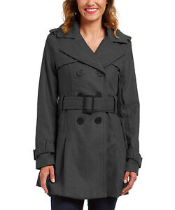 Size S Charcoal Double-Breasted Trench Coat NWT