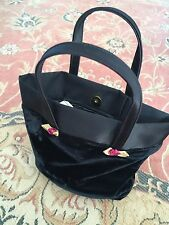 "PRELOVED BLACK VELVET BAG - 7"" X 8"" - LINED IN VINYL ( WATERPROOFING )"