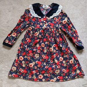 Vtg Girls Bonnie Jean Dress Navy Floral Long Sleeve Lace Velvet Pearl 6 AS IS