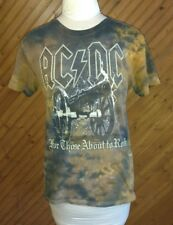 ACDC Women's Size S Knit T Shirt Top Canon For Those About To Rock Brown Shades