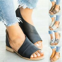 Women Flat Low Heels Gladiator Sandals Peep Toe Flip Flops Leather Shoes Size 10