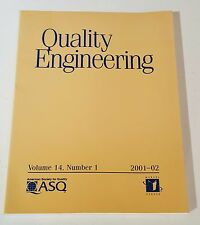 QUALITY ENGINEERING VOL 14 NO 1 01-02 AMERICAN SOCIETY FOR QUALITY Marcel Dekker