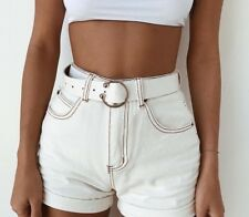 Denim Shorts Women Casual High Waist White Fashion Sexy Solid Cotton Skinny Fit
