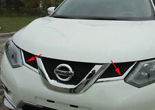 Triple Chrome Front Grille Central Cover Trim for Nissan X-Trail Rogue 2014-2016