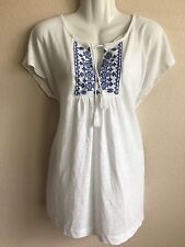 New Gap Women's Embroidered Tassel Tee Loose Fit Runs Big Large Linen Tunic wht