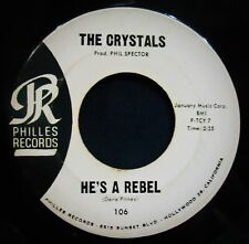 THE CRYSTALS~He's A Rebel & I Love You Eddie ✦ Promo 45~PHILLES #106~Spector