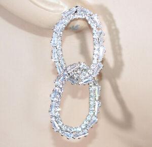 ORECCHINI donna argento cerchi ovali anelli strass cristalli brillanti sposa D12
