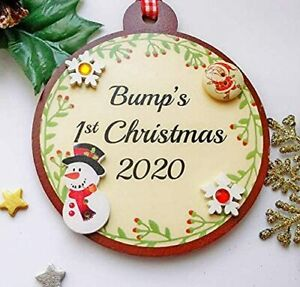 Bump's 1st Christmas 2020 Cute Bauble gift for an expectant Mum 12cm x 10.5cm