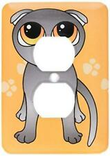 3dRose lsp_77510_6 Cute Grey Scottish Fold Cat Cartoon Orange Eyes Orange Pawp.
