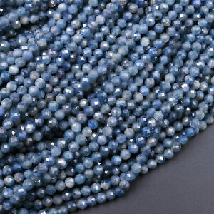 """Natural Burma Blue Sapphire Faceted 3mm 4mm 5mm 6mm Round Beads 16"""" Strand"""