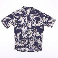 Vintage HILO HATTIE Made In Hawaii Blue Short Sleeve Shirt Men's Size Medium