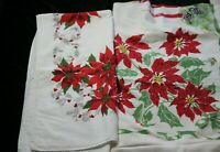 """2 Vintage Christmas Red Poinsettia Pinecone Holly Candles Tablecloths 80"""" x 60"""""""
