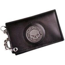 Harley 4.5 inch Willie G Skull Medallion Trifold Black Leather Chain Wallet