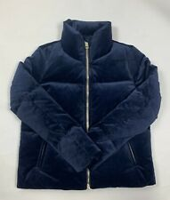Tommy Hilfiger Women Navy Suede Puffer Down Winter Jacket Coat Size S MRSP $245