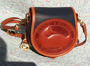 Vintage Dooney and Bourke Big Duck Shoulder Bag ~ Dark Navy / Tan ~ U.S.A.