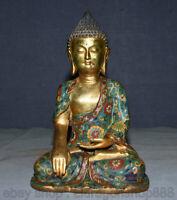 """13,2 """"Chinois en cuivre cloisonné Sakyamuni Amitabha statue de fleur de Bouddha"""