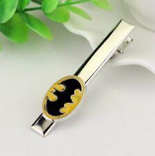 Gift Bag + Batman Tie clip clasp bar pin not cufflinks Silver tone Yellow UK STK