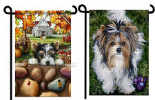2 Garden Flags in 1 Fall Biewer Terrier Autumn Yorkie Dog Art Tiki painting
