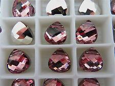 2 Light Rose CAL Swarovski Crystals Pendants Briolette 6012 11mm