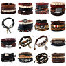 Fashion Retro Men Women Genuine Leather Handmade Bangle Bracelet Wristband Set