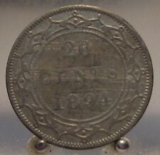 1894 Canada Newfoundland Silver 20 Cents, Old Sterling Silver World Coin