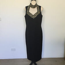'THEO MILES' AS NEW SIZE 'M' BLACK SLEEVELESS DRESS WITH GOLD & PEARL SEQUIN