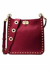 NWT MICHAEL KORS Jenkins Stud Sullivan Saffiano Leather Bag Purse Cherry $368