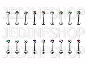 Straight Barbell Bar | 1.0mm (18g) - 10mm | Single Gem - 18 Colours | Steel