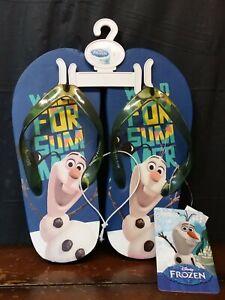 Kids Childs Size 1 Disney Frozen Olaf Flip Flop Sandals-NWT
