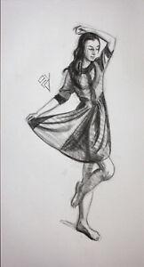 Original Female Charcoal on paper life Drawing Dancing Girl woman artwork dancer