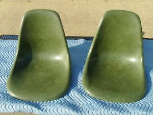 "HERMAN MILLER FIBERGLASS CHAIRS KELLY GREEN ""SHELLS ONLY"" RARE COLOR KNOLL EAMES"