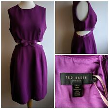 New Ted Baker Purple Cut Out Dress Bow With Tags Size 4/14 Rrp £175 Party