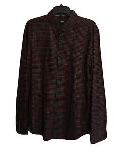 Hugo Boss Shirt Sz XL Long Sleeve Red Black Plaid Slim Fit