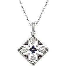 Zafiro Azul & Diamante 45.7cm Collar Plata de ley 925
