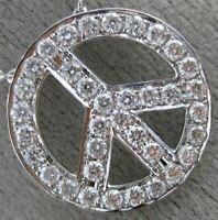 ESTATE .80CT DIAMOND 18KT WHITE GOLD 3D OPEN PEACE CIRCULAR FLOATING FUN PENDANT