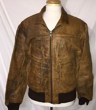 Bc3 vtg Scully Distressed leather aviator jacket coat 42