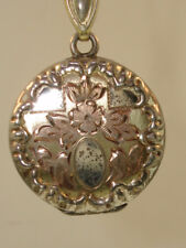 ANTIQUE 1880'S ART NOUVEAU BLISS BROS. STERLING W/ROSE & YELLOW GOLD LOCKET!