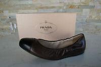 PRADA Gr-37 Bailarinas Deslizador Zapatos 1F253E negro + marrón nuevo