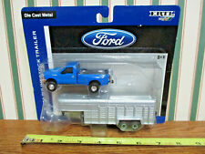 Blue Ford F-350 Dually Pickup With Livestock Trailer By Ertl 1/64th Scale