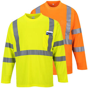 Portwest S191 High Visibility Safety Workwear Long Sleeve Pocket T-Shirt